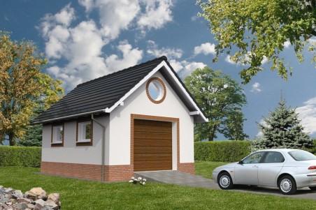 G255 garaż dwustanowiskowy z pomieszczeniem gospodarczym i altaną
